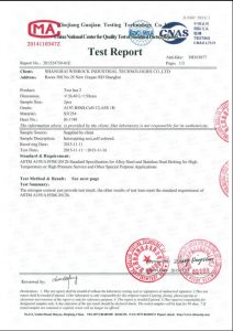 S31254 üçün sertifikat
